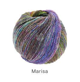 Marisa Farb-Nr. 9, Fliederlila/Blauviolett/Hell-/Graugrün/Hellblau/Burgund, Klassisch verzwirntes Streichgarn aus Merinowolle
