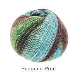 Ecopuno Print Farbe 205 Türkis/Mint/Dunkelbraun/Gelbgrün/Taupe, Edles Garn aus Baumwolle mit Merino und Alpaka