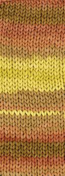 About Berlin Bulky Print Farbe 101, Gelb/Orange/Goldbraun/Lachs Schlauch-Bändchengarn