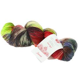Meilenweit 100 Merino Hand-Dyed  Farbe 401, Samosa- Weinrot/Hellgrün/Grau/Violett, Sockengarn aus Merinowolle, waschmaschinenfest, handgefärbt
