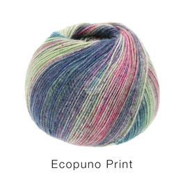 Ecopuno Print Farbe 201 Pflaumenblau/Flieder/Ecru/Rosa/Petrol, Edles Garn aus Baumwolle mit Merino und Alpaka