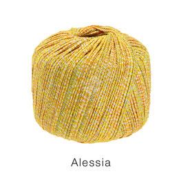 ALESSIA  Farbe 12, Zitrusgelb/Hellorange/Natur, Baumwoll-Bändchengarn umwickelt mit feinen Glanzfäden