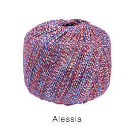 ALESSIA  Farbe  9, Rot/Royal/Ecru, Baumwoll-Bändchengarn umwickelt mit feinen Glanzfäden