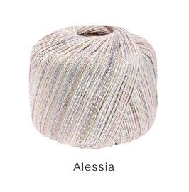 ALESSIA  Farbe 3, Zartrosa/Graulila/Creme, Baumwoll-Bändchengarn umwickelt mit feinen Glanzfäden