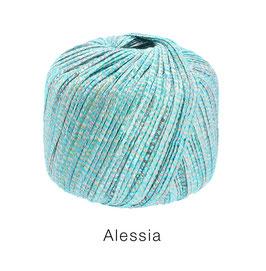 ALESSIA  Farbe 16, Türkis/Jade/Hanf, Baumwoll-Bändchengarn umwickelt mit feinen Glanzfäden