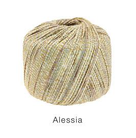 ALESSIA  Farbe 4, Goldgelb/Hellgrau/Graubraun, Baumwoll-Bändchengarn umwickelt mit feinen Glanzfäden