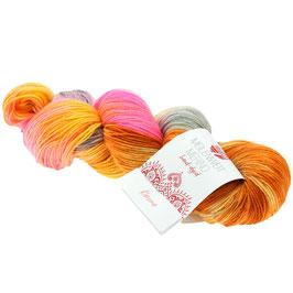 Meilenweit 100 Merino Hand-Dyed  Farbe 402, Karma - Lachs/Ocker/Grau/Rosa, Sockengarn aus Merinowolle, waschmaschinenfest, handgefärbt