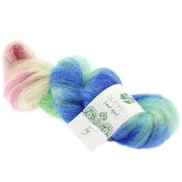 Silkhair Hand-Dyed  Farbe   602, Taj - Blau/Mint/Rosa/Grau, Feines Lace-Garn aus Superkid Mohair mit Seide, handgefärbt