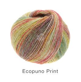 Ecopuno Print Farbe 204 Grüngelb/Tomatenrot/Brombeer/Moosgrün, Edles Garn aus Baumwolle mit Merino und Alpaka