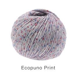 Ecopuno Print Farbe 104 Flieder bunt, Edles Garn aus Baumwolle mit Merino und Alpaka