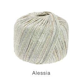 ALESSIA  Farbe 6, Silber/Graugrün/Ecru, Baumwoll-Bändchengarn umwickelt mit feinen Glanzfäden