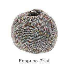 Ecopuno Print Farbe 105 Mittelgrau bunt, Edles Garn aus Baumwolle mit Merino und Alpaka