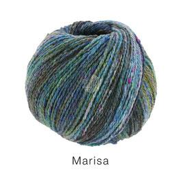 Marisa Farb-Nr. 10, Dunkel-/Hellpetrol/Violett/Flieder/Oliv, Klassisch verzwirntes Streichgarn aus Merinowolle