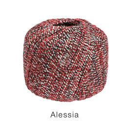 ALESSIA  Farbe 10, Rot/Schwarz/Ecru, Baumwoll-Bändchengarn umwickelt mit feinen Glanzfäden