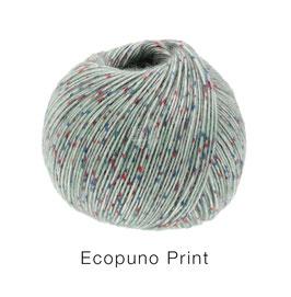 Ecopuno Print Farbe 101 Hellgrau bunt, Edles Garn aus Baumwolle mit Merino und Alpaka