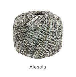 ALESSIA  Farbe 5, Anthrazit/Grau/Natur, Baumwoll-Bändchengarn umwickelt mit feinen Glanzfäden