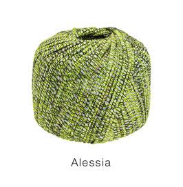 ALESSIA  Farbe 8, Oliv/Pistazie/Mint, Baumwoll-Bändchengarn umwickelt mit feinen Glanzfäden