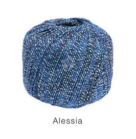 ALESSIA  Farbe 13, Blau/Marine/Natur, Baumwoll-Bändchengarn umwickelt mit feinen Glanzfäden