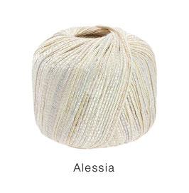 ALESSIA  Farbe 1, Creme, Baumwoll-Bändchengarn umwickelt mit feinen Glanzfäden