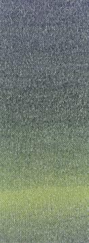 Amoroso Farbe 7 Voluminöses Kettengarn mit Tweed-Noppen aus Seide & Dégradé-Effekt Linde/Petrol/Graugrün