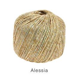ALESSIA  Farbe 102, Gold/Kupfer/Graugrün/Mint, Baumwoll-Bändchengarn umwickelt mit feinen Glanzfäden