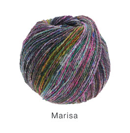 Marisa Farb-Nr. 5, Dunkelgrau/Zyklam/Rosa/Oliv/Petrol, Klassisch verzwirntes Streichgarn aus Merinowolle
