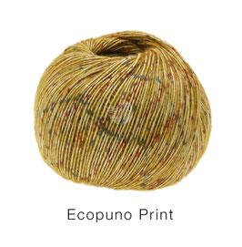 Ecopuno Print Farbe 107 Curry bunt, Edles Garn aus Baumwolle mit Merino und Alpaka