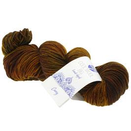 Cool Wool Big Hand-Dyed Farbe 203, Curry - Dunkel-/Graubraun/Gelb, Extrafeine Merinowolle waschmaschinenfest und filzfrei, handgefärbt