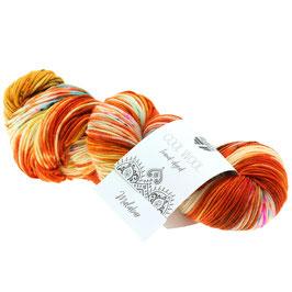 Cool Wool Hand-Dyed Farbe 101, Malabar - Orange/Rohweiß/Gelb, Extrafeine Merinowolle waschmaschinenfest und filzfrei, handgefärbt