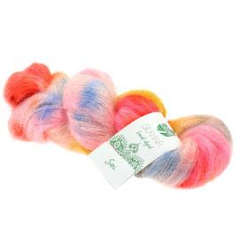 Silkhair Hand-Dyed  Farbe  603, Sari - Orange/Pink/Gelb/Himmelblau, Feines Lace-Garn aus Superkid Mohair mit Seide, handgefärbt