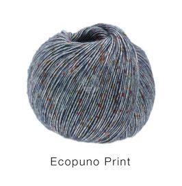 Ecopuno Print Farbe 102 Jeans bunt, Edles Garn aus Baumwolle mit Merino und Alpaka