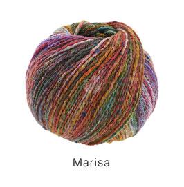 Marisa Farb-Nr. 1, Oliv/Orange/Türkis/Petrol/Rotviolett, Klassisch verzwirntes Streichgarn aus Merinowolle