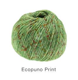 Ecopuno Print Farbe 108 Grün bunt, Edles Garn aus Baumwolle mit Merino und Alpaka