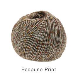 Ecopuno Print Farbe 106 Graubraun bunt, Edles Garn aus Baumwolle mit Merino und Alpaka