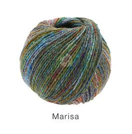 Marisa Farb-Nr. 7, Oliv/Türkis/Jeans/Grünpetrol/Orange, Klassisch verzwirntes Streichgarn aus Merinowolle