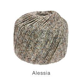 ALESSIA  Farbe 103, Schwarz/Kupfer/Silber/Hanf, Baumwoll-Bändchengarn umwickelt mit feinen Glanzfäden
