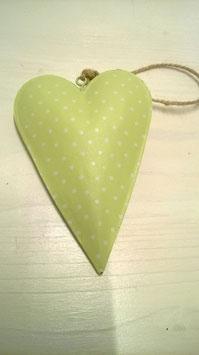 Herz Metall zum Hängen pastelgrün mit weißen Punkten