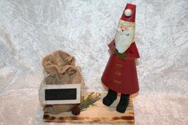 Nikolaus auf Holzbrett mit Jute-Sack