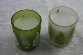 Teelichtglas gefüllt mit Kerzenwachs in versch. Farben