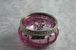 Teelichtglas mit silbernem Rand