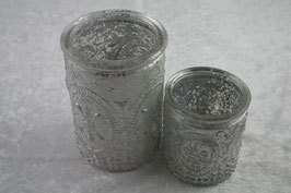 1 Set Tee/ Windlicht verschiedene Größen Farbe Matt-Silber