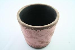 Keramik Blumentopf altrosa mit Blumenmuster