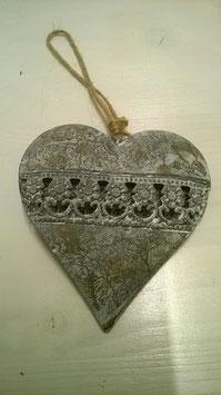 Herz zum Hängen Metall grau / weiß
