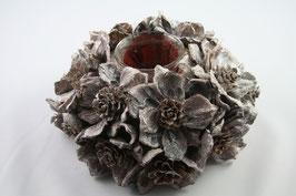Teelichthalter mit Holzblumen braun/weiß gewischt
