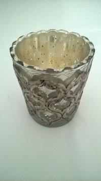 Glas Teelichthalter Glas mit Ornament
