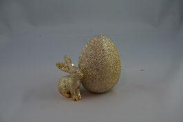 Ei und Hase goldfarben aus Polyresin