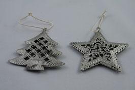 Weihnachtliche Anhänger in Silber Baum/Stern