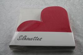 Silhouettes Lunch Serviette  Herz rot gestanzt Airlaid