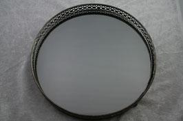 Tablett rund antik/silber mit Glasboden