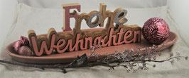 """Schale mit Schriftzug """"Frohe Weihnachten"""", Dekozweig und veschiedene Kugeln"""